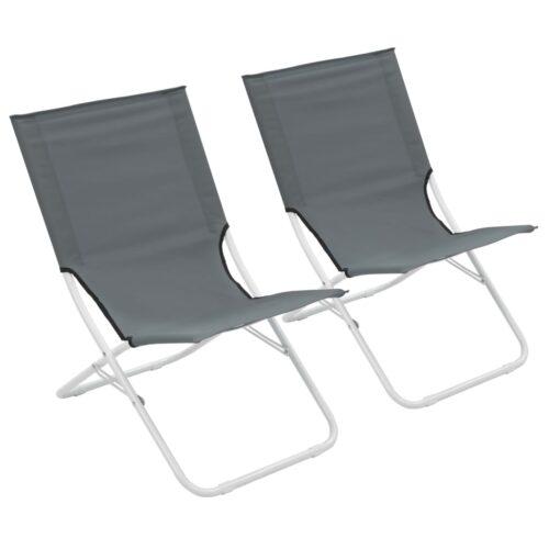 Cadeiras de praia dobráveis 2 pcs cinzento
