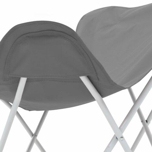 Cadeiras de campismo borboleta dobráveis 2 pcs cinzento
