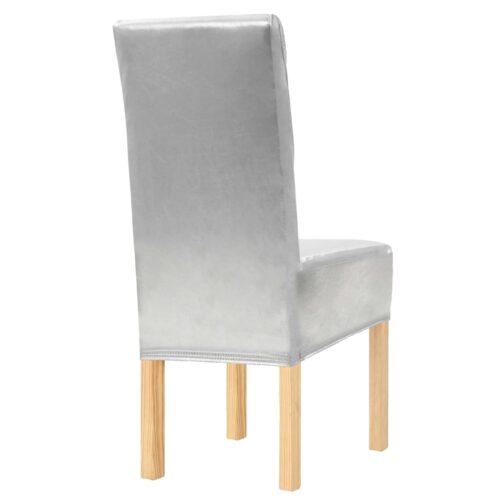 Capas extensíveis para cadeiras 4 pcs prateado
