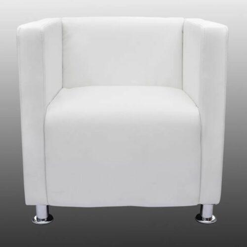 Poltrona com design cubo couro artificial branco