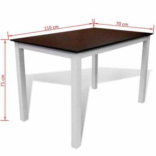 Mesa de jantar 110 cm madeira sólida castanho e branco