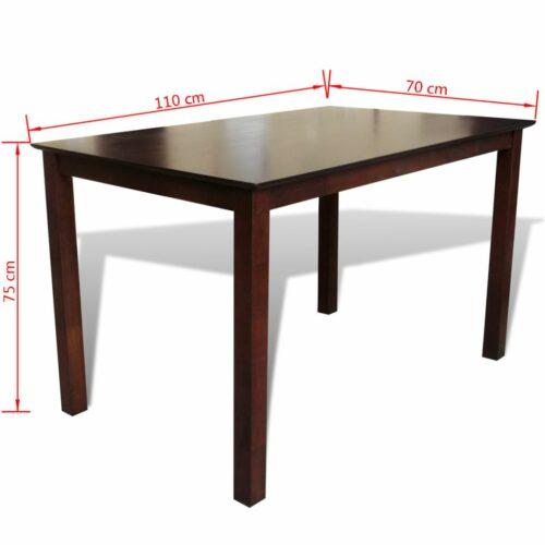 Mesa de jantar 110 cm madeira sólida castanho