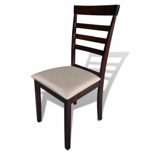 Cadeiras de jantar 4 pcs madeira sólida castanho e creme