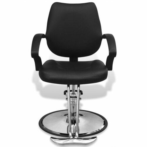 Cadeira profissional de cabeleireiro de couro artificial, preta