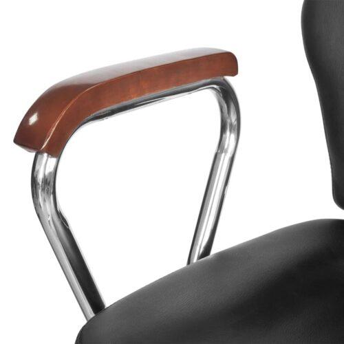 Cadeira cabeleireiro com apoio para a cabeça, pele artificial, preta
