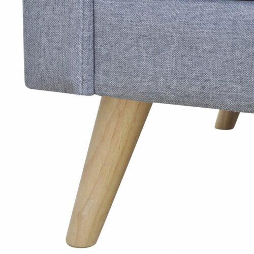 Sofá de 3 lugares em tecido cinzento claro