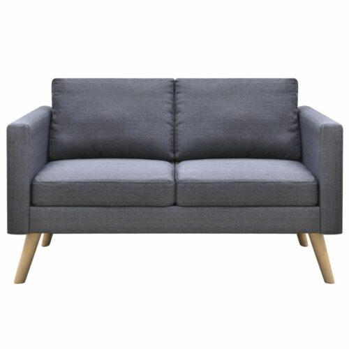 Sofá de 2 lugares em tecido cinzento escuro