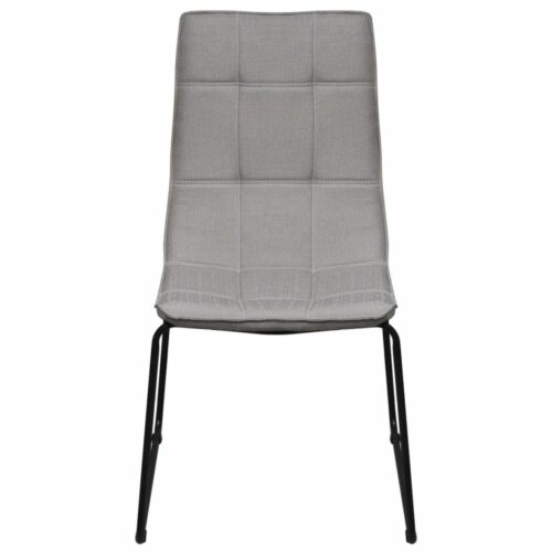 Cadeiras de jantar pernas de ferro 4 pcs tecido cinzento claro