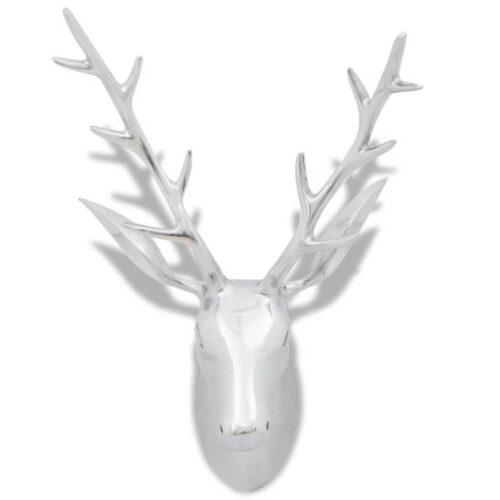 Decoração parede cabeça de veado alumínio 62 cm prateado