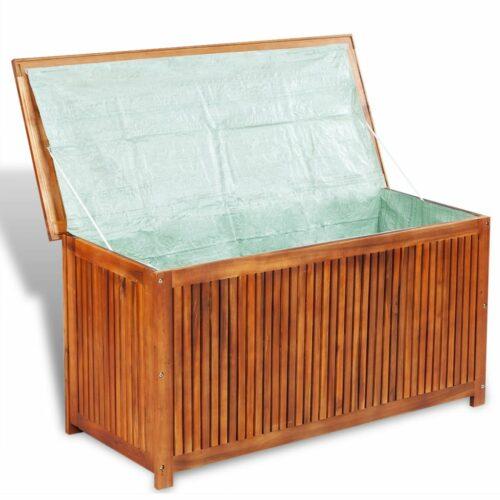 Caixa arrumação para jardim 117x50x58 cm madeira acácia maciça
