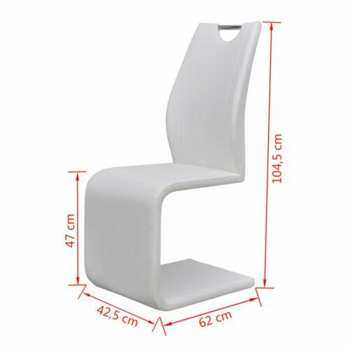 Cadeiras de jantar cantilever 6 pcs couro artificial branco