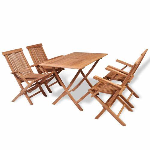 5 pcs conjunto jantar dobrável p/ exterior madeira teca maciça