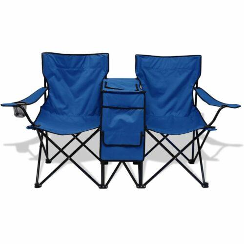 Cadeira dupla de campismo 155x47x84 cm azul