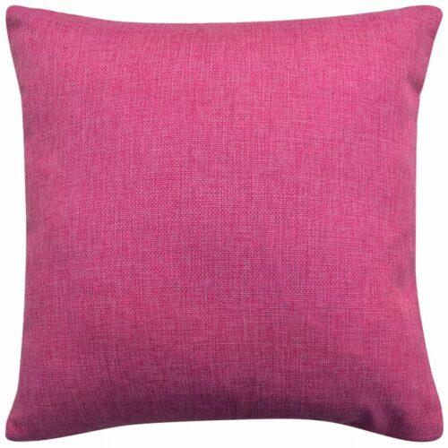 Capa de almofada 4 pcs aspeto de linho 80×80 cm rosa