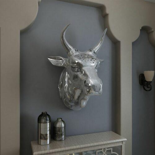 Cabeça de vaca decorativa de parede alumínio prateado