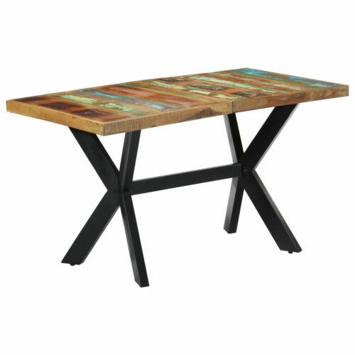 Mesa de jantar 140x70x75 cm madeira recuperada maciça