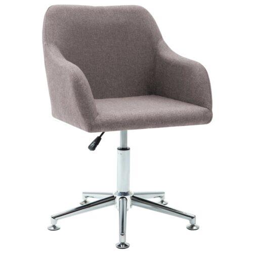 Cadeira de jantar giratória tecido cinzento-acastanhado