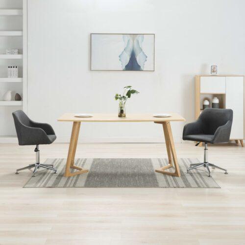 Cadeiras de jantar giratórias 2 pcs tecido cinzento-escuro