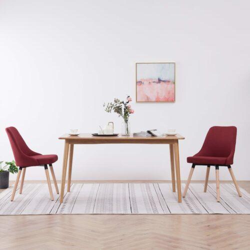 Cadeiras de jantar 2 pcs tecido vermelho tinto