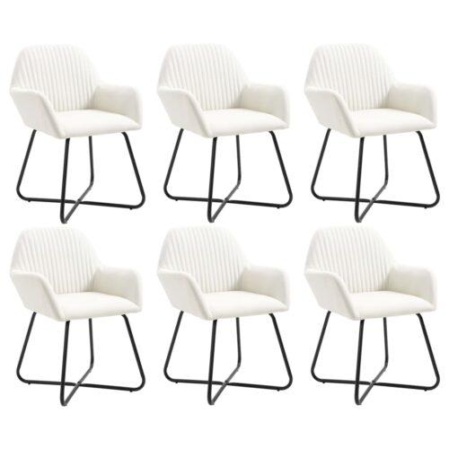Cadeiras de jantar 6 pcs tecido cor creme