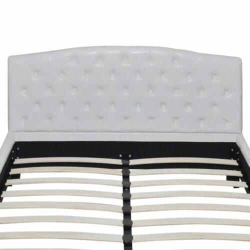 Estrutura de cama em couro artificial 180×200 cm branco