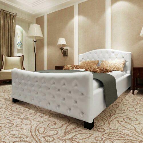 vidaXL Estrutura de cama em couro artificial 180×200 cm branco