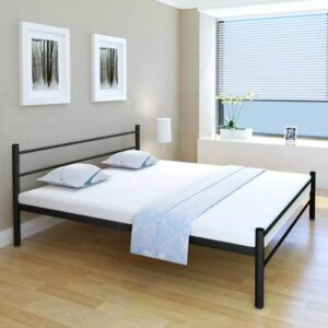 vidaXL Cama com colchão 180×200 cm metal preto