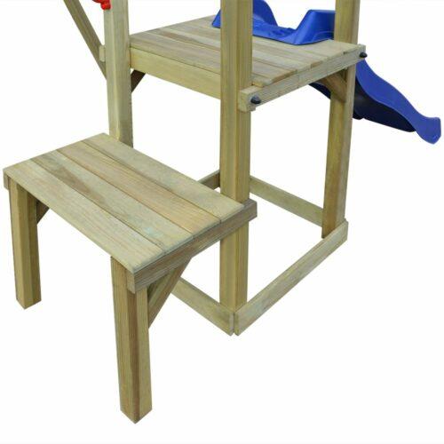 vidaXL Casa c/ escada, escorrega e baloiços 286x228x218 cm pinho FSC