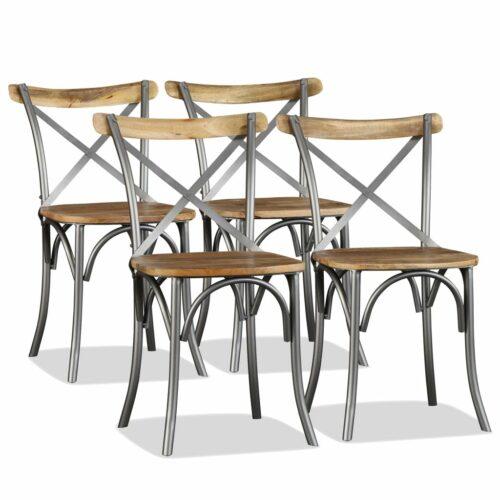 vidaXL Cadeiras de jantar 4 pcs madeira mangueira maciça + encosto aço