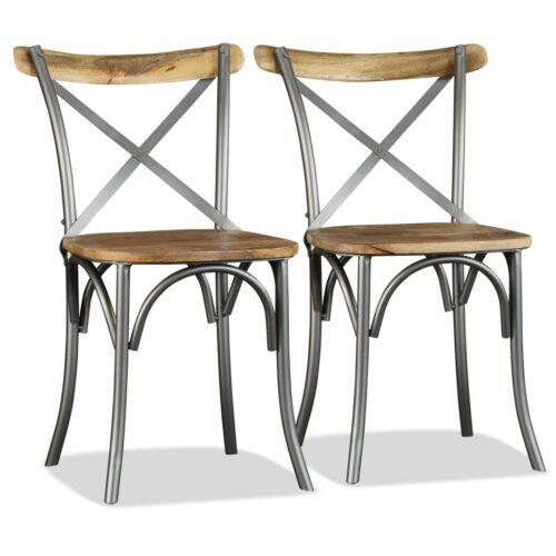 Cadeiras de jantar 4 pcs madeira mangueira maciça + encosto aço