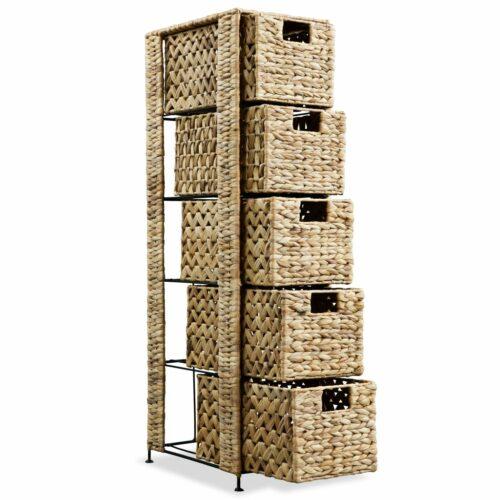 Unidade de arrumação c/ 5 cestos 25,5x37x100 cm jacinto de água