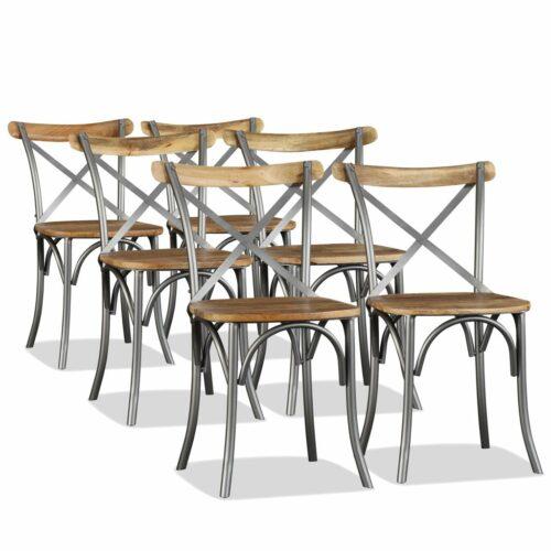 vidaXL Cadeiras de jantar 6 pcs madeira mangueira maciça + encosto aço