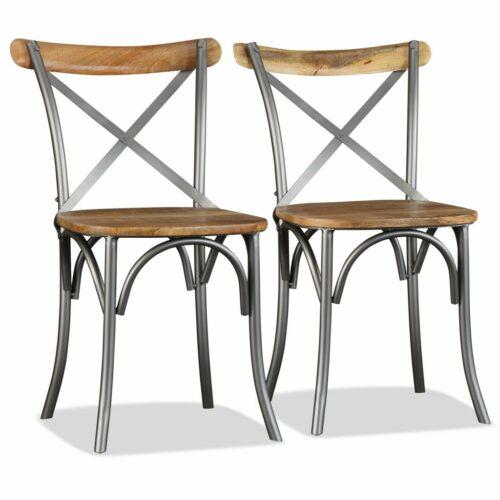Cadeiras de jantar 6 pcs madeira mangueira maciça + encosto aço