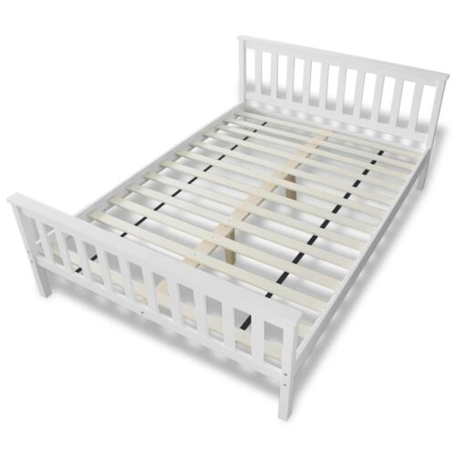 Estrutura de cama em pinho maciço branco 140×200 cm