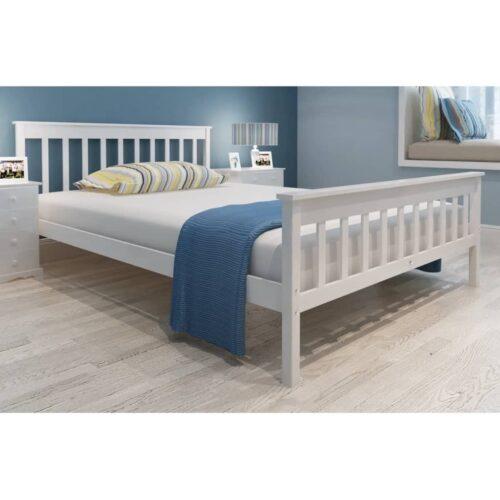 vidaXL Estrutura de cama em pinho maciço branco 140×200 cm