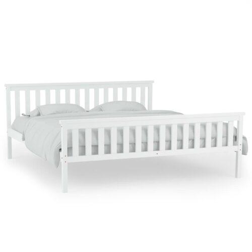 Estrutura de cama em pinho maciço branco 160×200 cm