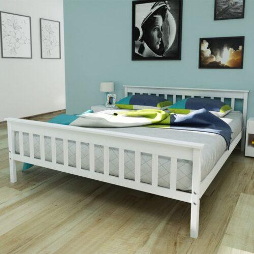 vidaXL Estrutura de cama em pinho maciço branco 160×200 cm