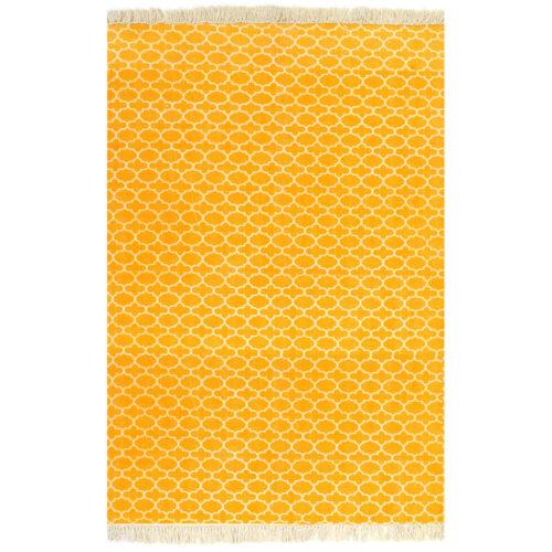vidaXL Tapete Kilim em algodão 160×230 cm com padrão amarelo