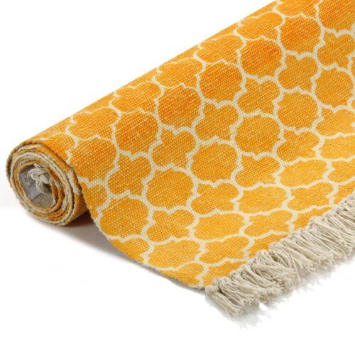 Tapete Kilim em algodão 160×230 cm com padrão amarelo