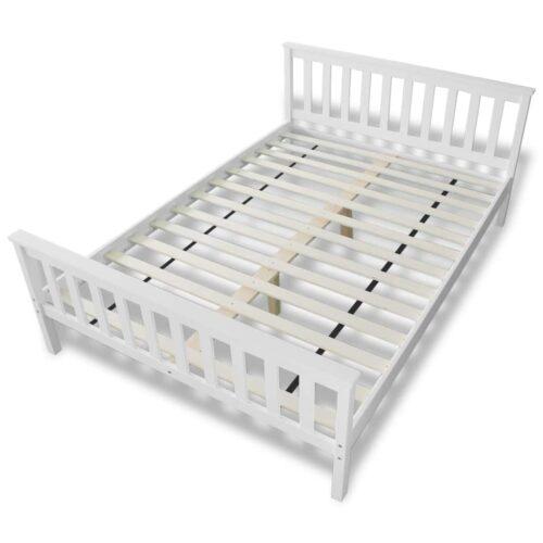 Cama com colchão 140×200 cm pinho maciço branco