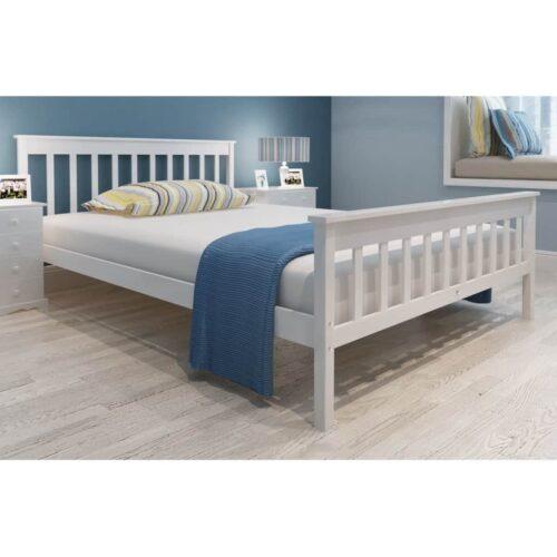 vidaXL Cama com colchão 140×200 cm pinho maciço branco