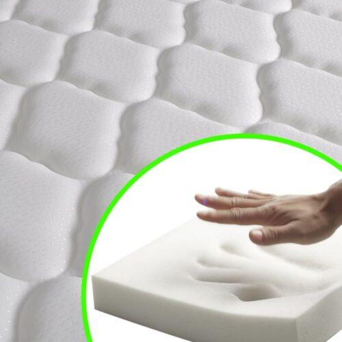 Cama + colchão espuma de memória 140×200 cm pinho maciço branco