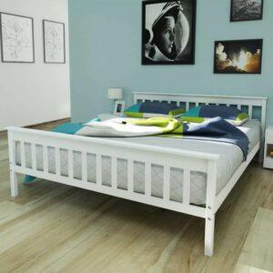 vidaXL Cama com colchão 160×200 cm pinho maciço branco