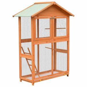 vidaXL Gaiola para pássaros pinho e abeto maciços 120x60x168 cm
