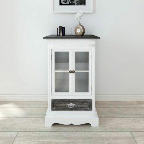 vidaXL Armário 2 portas 1 gaveta madeira branca