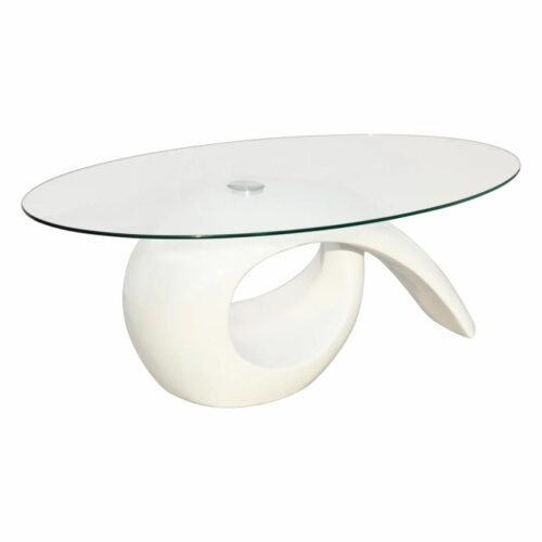Mesa de centro com tampo oval de vidro, branco brilhante