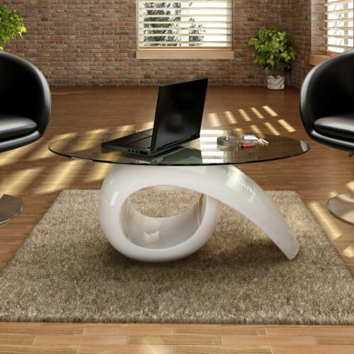 vidaXL Mesa de centro com tampo oval de vidro, branco brilhante