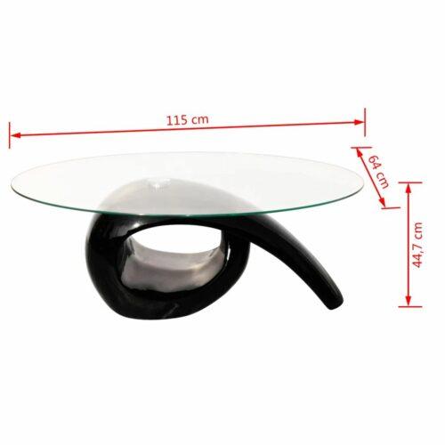 Mesa de centro com tampo oval de vidro, preto brilhante