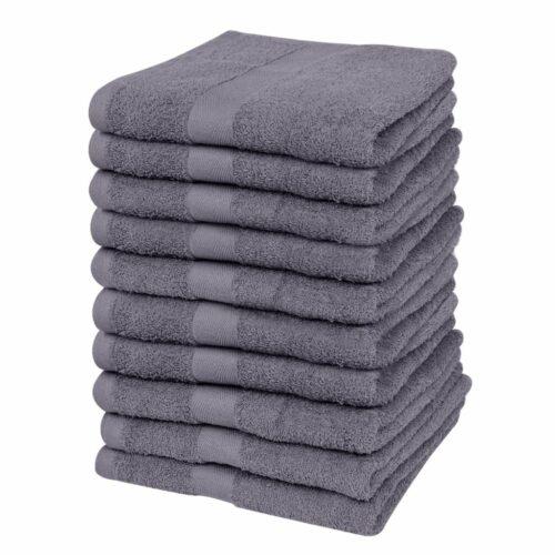 vidaXL Conjunto toalhas hóspedes 10pcs algodão 500g. 30x50cm antracite