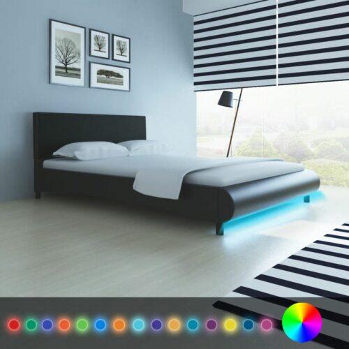 Estrutura de cama com LEDs 140×200 cm couro artificial preto